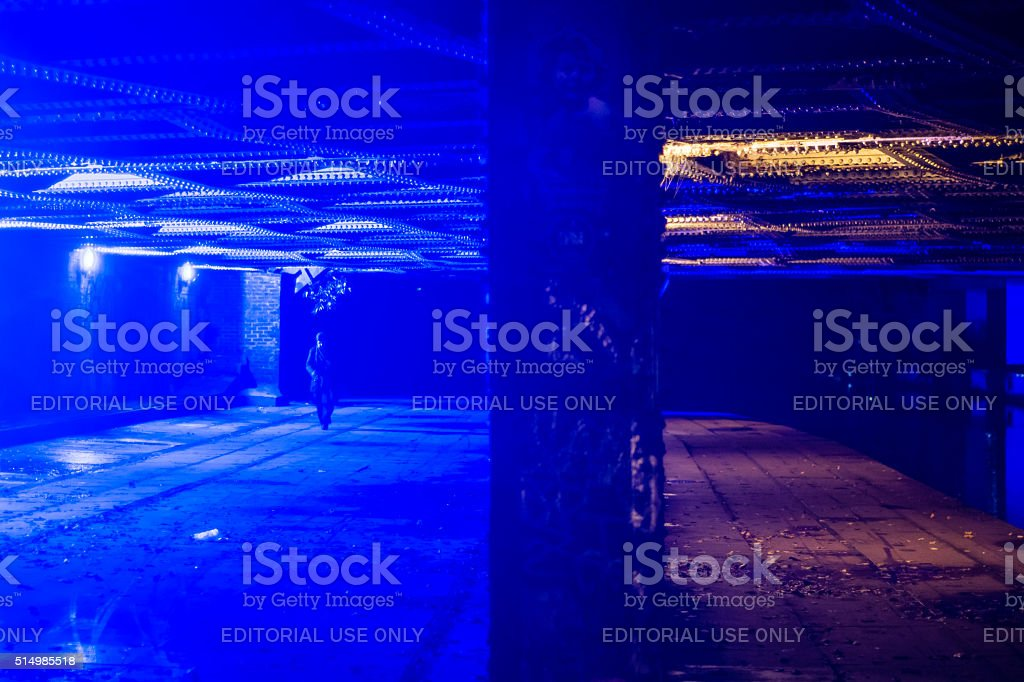 Bridge in Camden with blue light to deter drug users stock photo