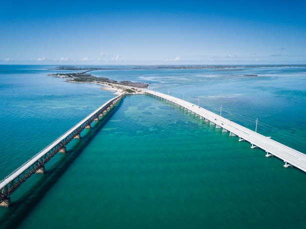 Bridge in Florida Keys from drone point of view stock photo