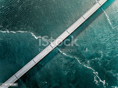 Aaerial photograph of the beautiful sea and bridge in Iceland.