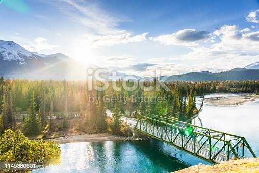 Bridge over Pyramid Lake,at the foot of Pyramid Mountainin in Jasper national park, Alberta,elevated view, Canada.
