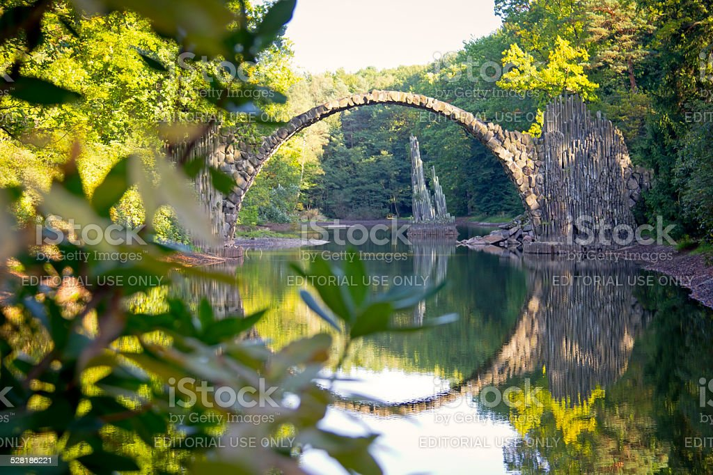 Bridge in Kromlau, Germany. stock photo