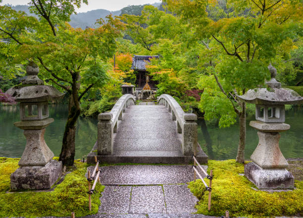 Bridge in Kyoto, Japan Kyoto, Japan - July 9, 2016: The image shows a beautiful bridge near a temple shinto stock pictures, royalty-free photos & images