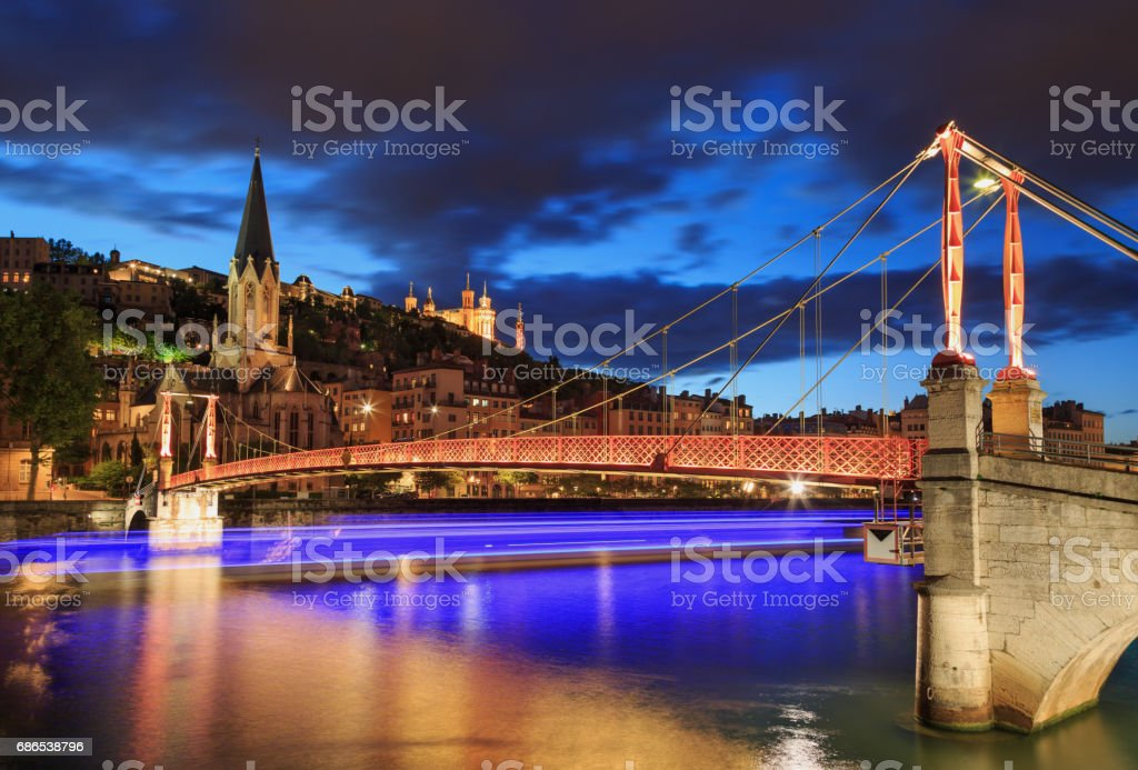 Passerelle in Lyon stock photo