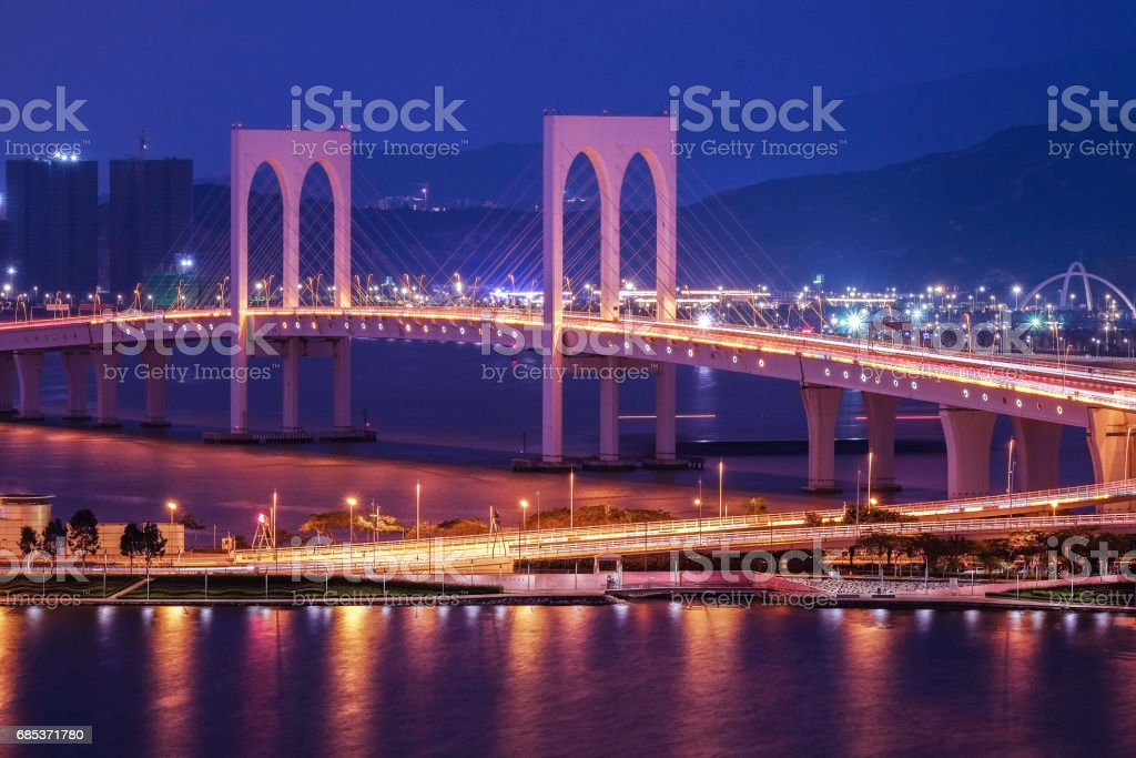 Bridge in Macau view at night royalty-free stock photo