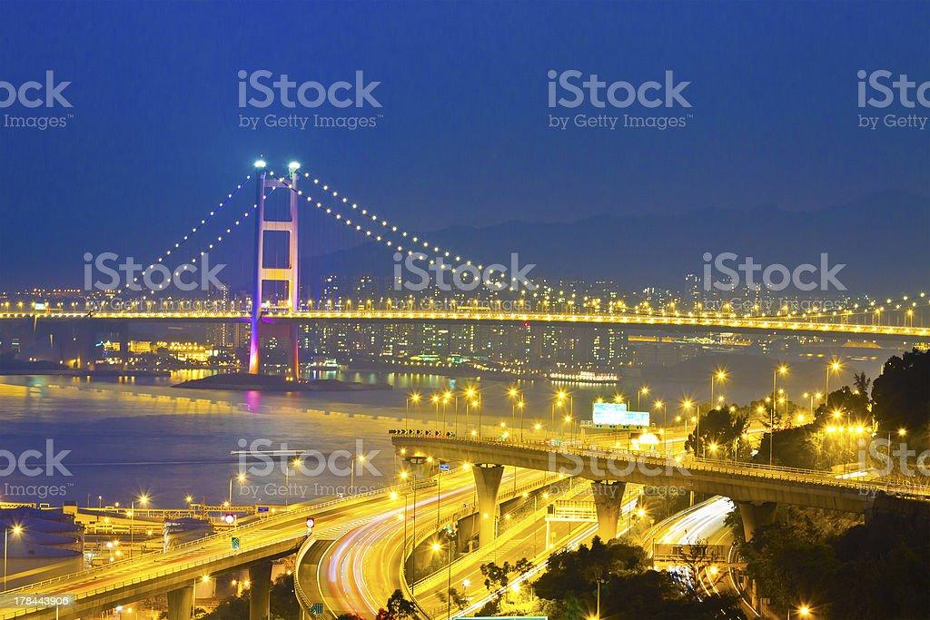 Bridge in modern city stock photo