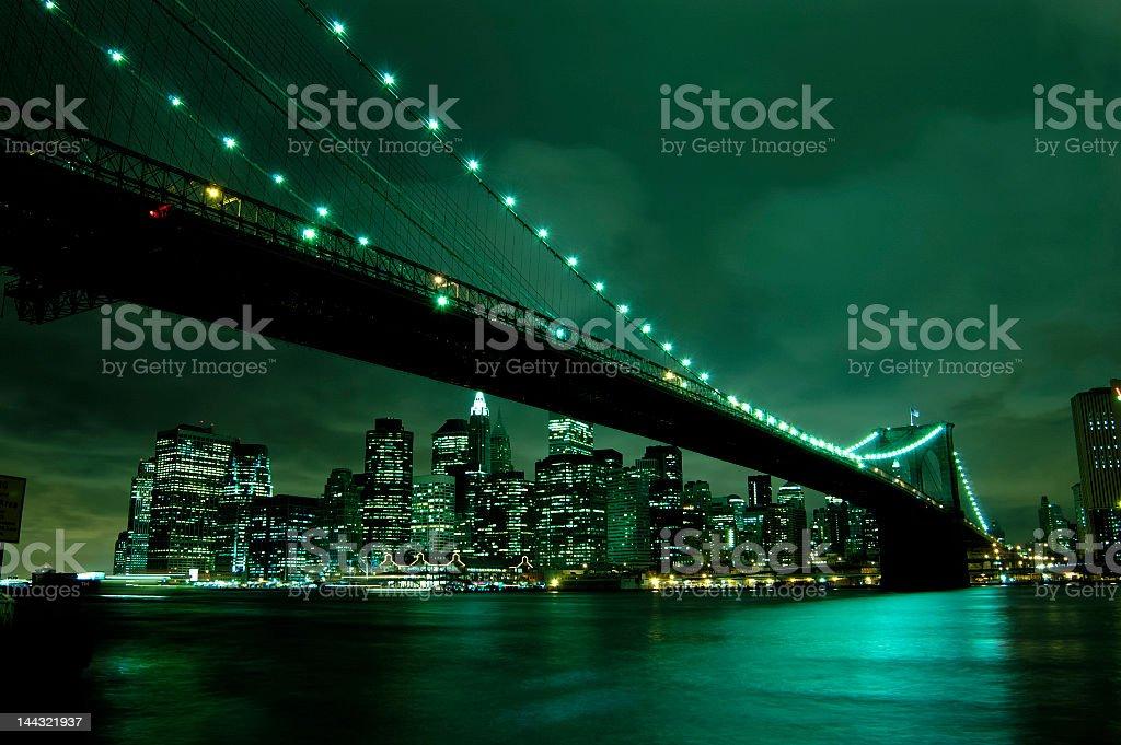 Bridge in New York City at night royalty-free stock photo