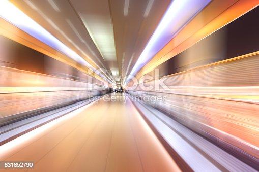 686251110 istock photo bridge in radial blur in night with lights on 831852790