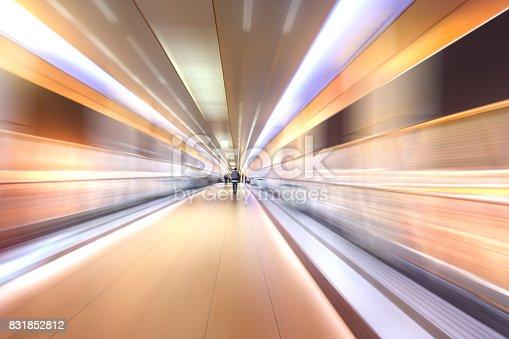 istock bridge in radial blur in night with lights on 831852812