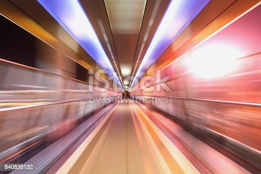 istock bridge in radial blur in night with lights on 840835132