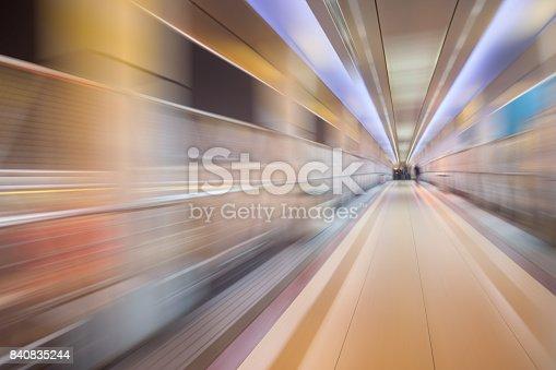istock bridge in radial blur in night with lights on 840835244
