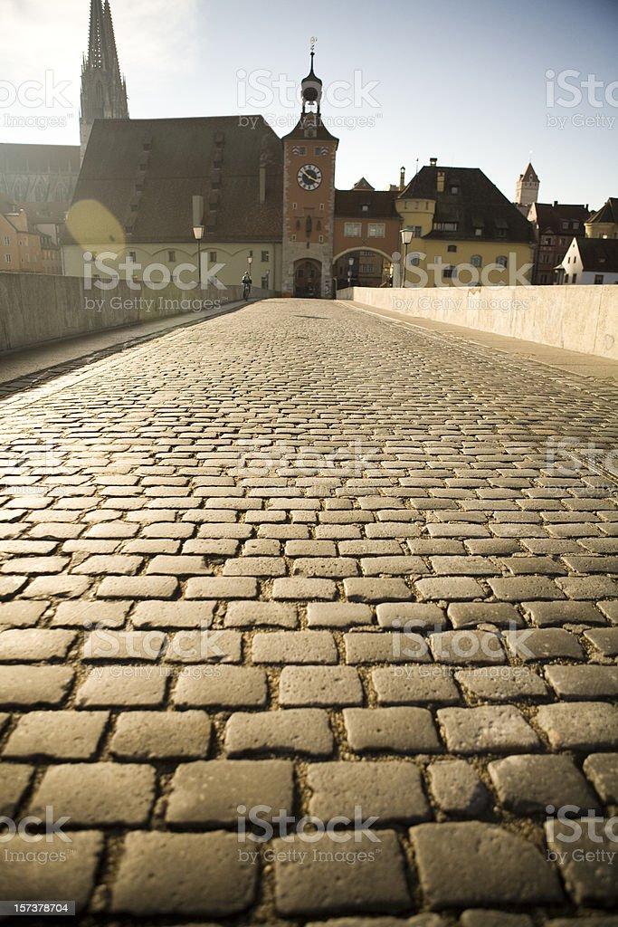 Bridge in Regensburg, Germany stock photo