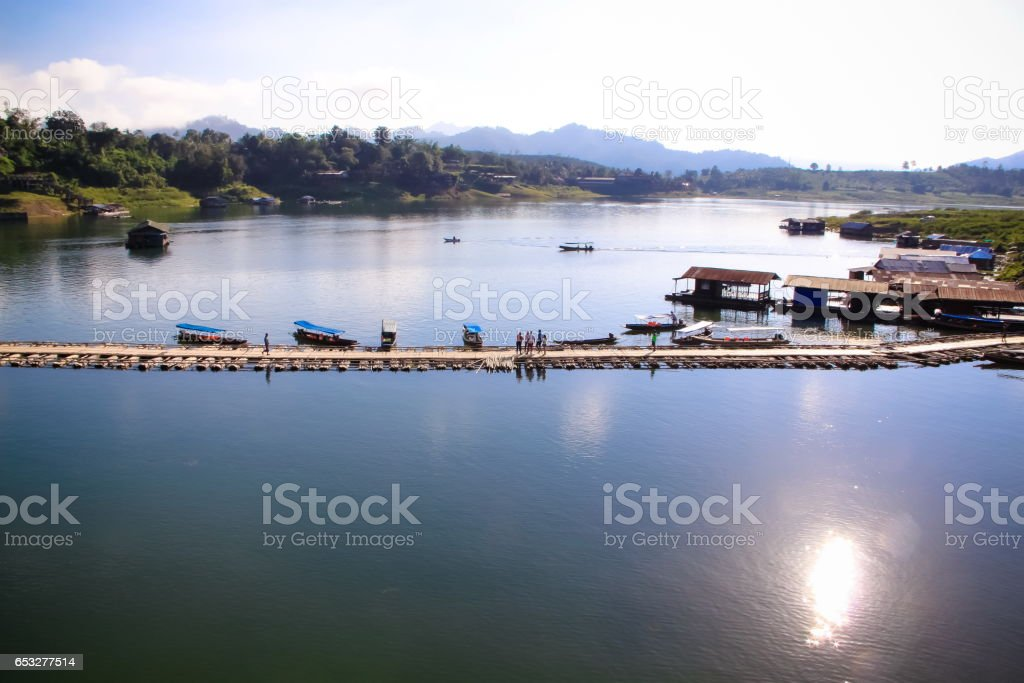 bridge in Sangklaburi province, kanchanaburi Thailand stock photo