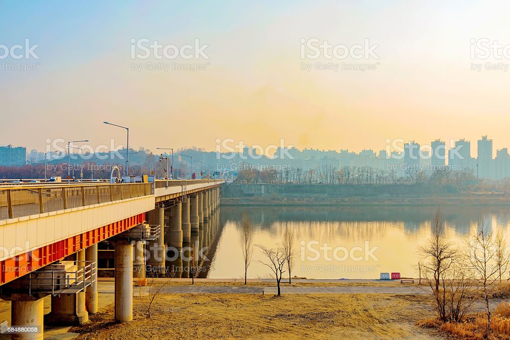 Bridge in Seoul with river park stock photo