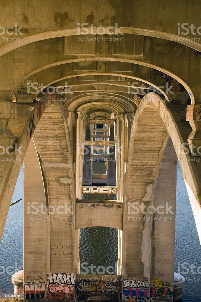 Bridge in St. Paul over the MIssissippi stock photo