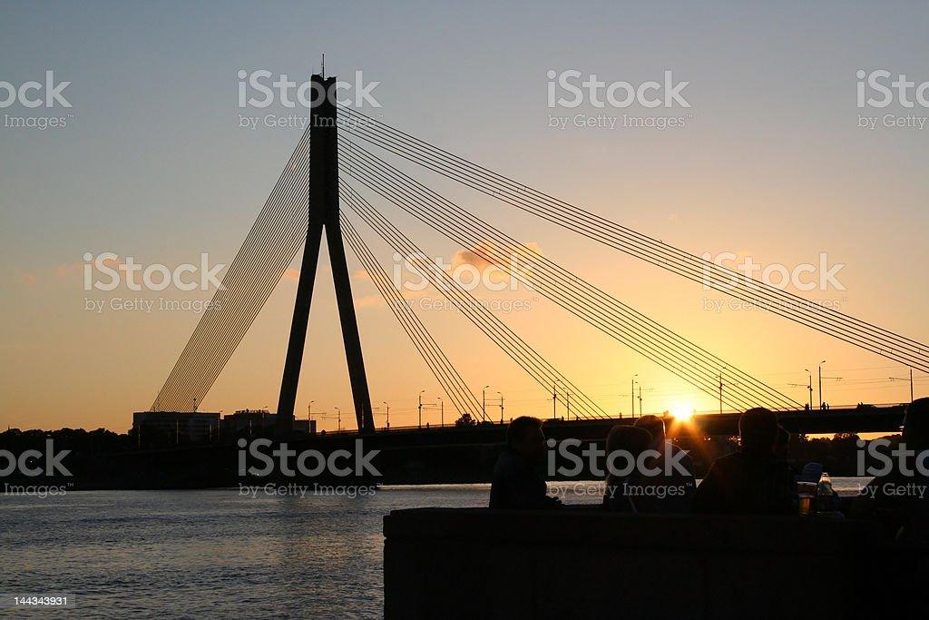 Bridge in sunset royalty-free stock photo