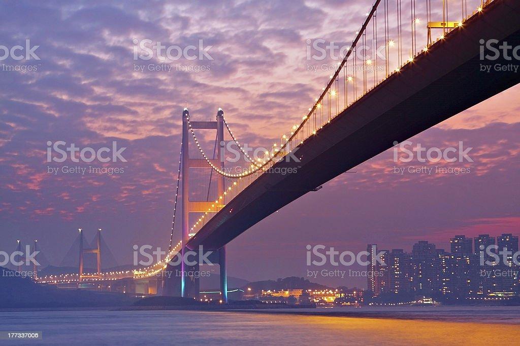 bridge in sunset , under view stock photo