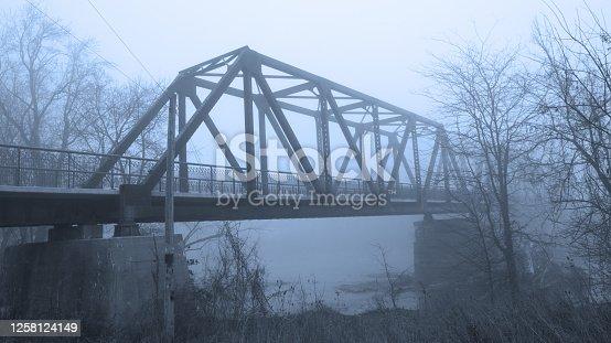 Bridge in the Fog-RR Bridge over Wabash River-Peru Indiana