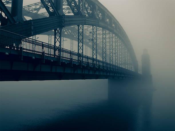 bridge in the mist - neva stockfoto's en -beelden