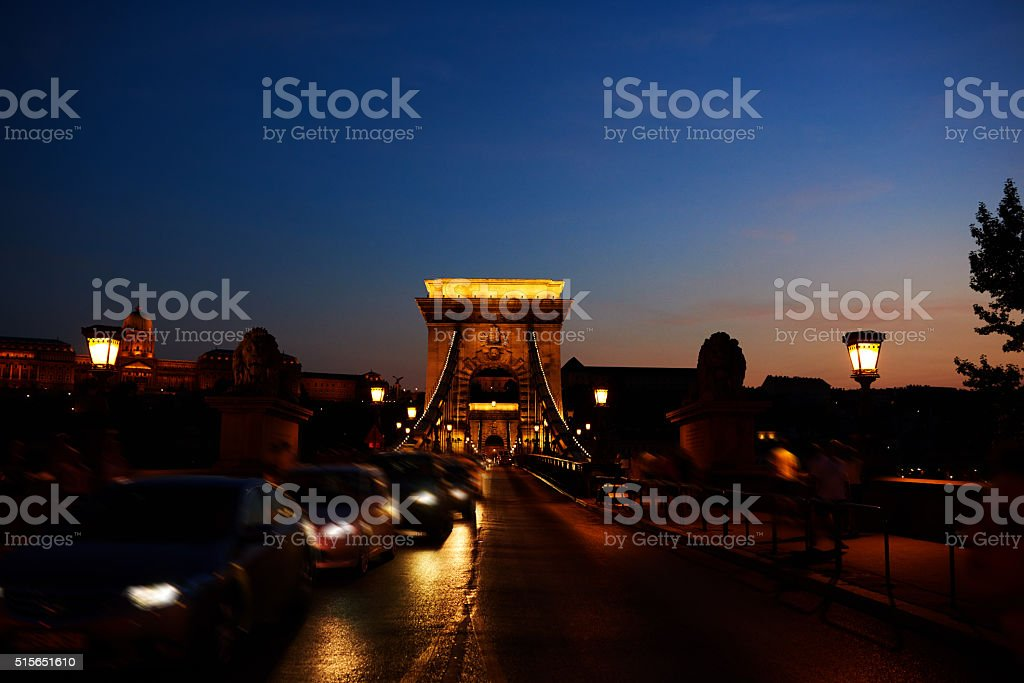 bridge in the night stock photo