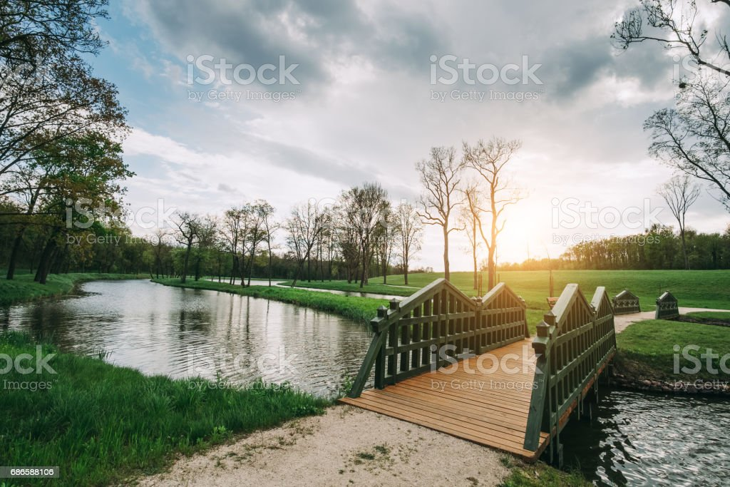 Bridge in the park royalty-free stock photo