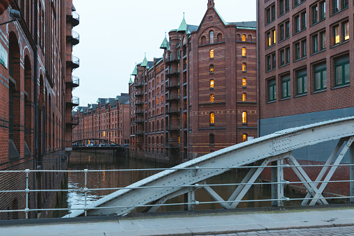 Bridge in the Speicherstadt district, Hamburg, Germany.
