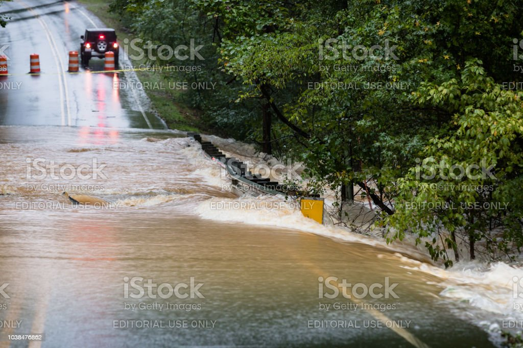 A bridge in Union County, NC is washed out by Hurricane Florence stock photo