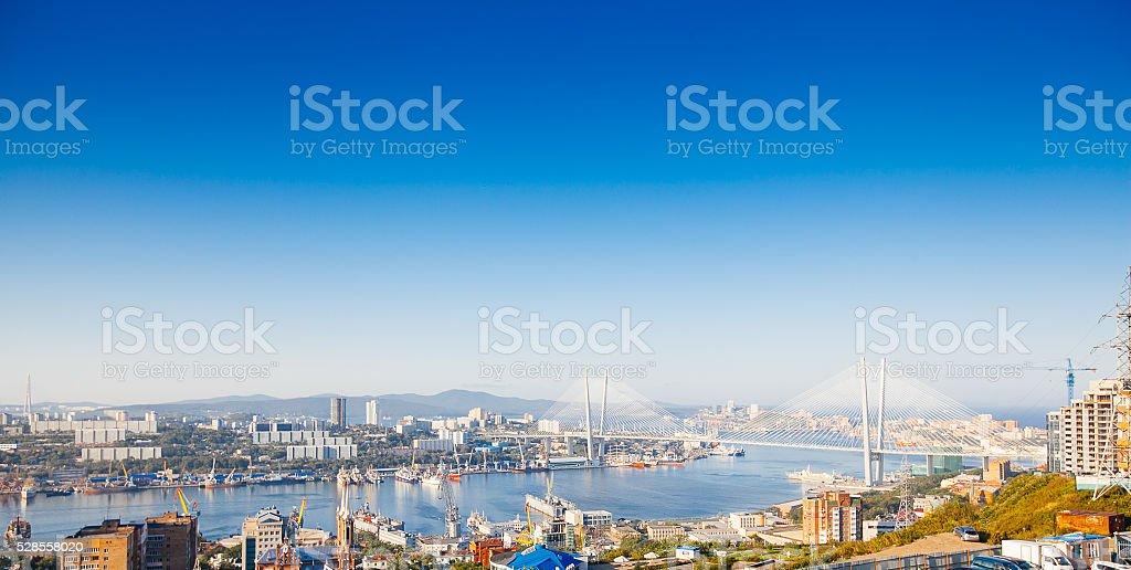Bridge in Vladivostok city, Russia stock photo