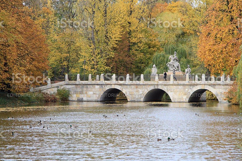 bridge in Warsaw's Royal Baths Park stock photo