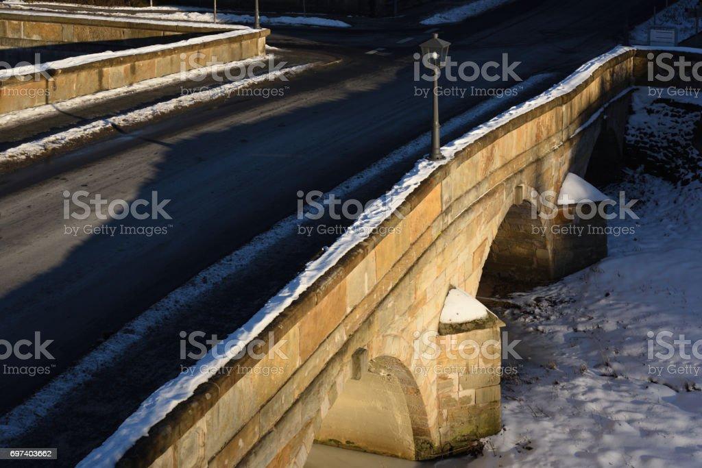bridge in winter stock photo