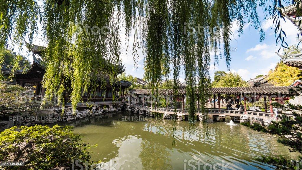 Bridge in Yu Gardens in Shanghai stock photo