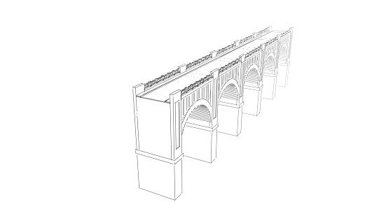 Bridge. Isolated on white background. Sketch illustration.