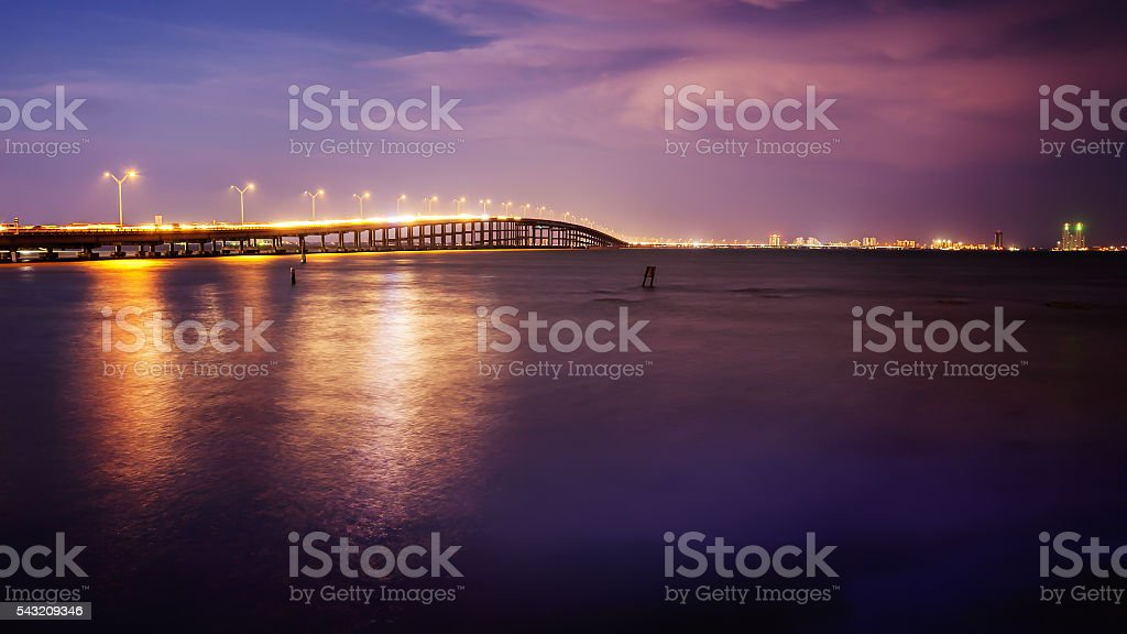 Bridge Leads to South Padre Island, Texas at Sunset stock photo