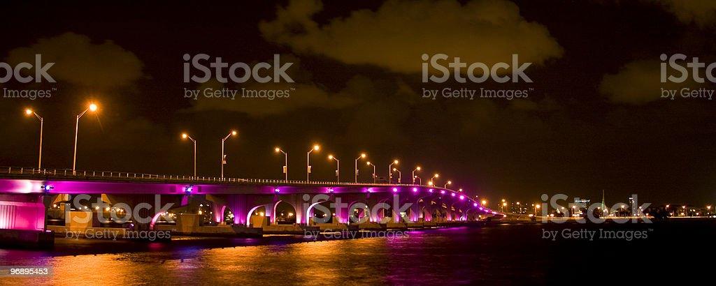 Bridge lit up at night royalty-free stock photo