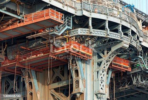New York city bridge across the Hudson River undergoing repairs and maintenance