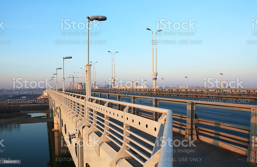 Bridge named after sixtieth anniversary of the Victory. stock photo