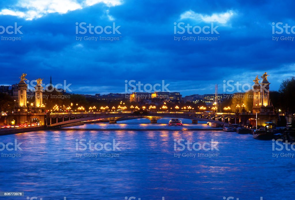 Bridge of Alexandre III at night,  Paris, Franc stock photo