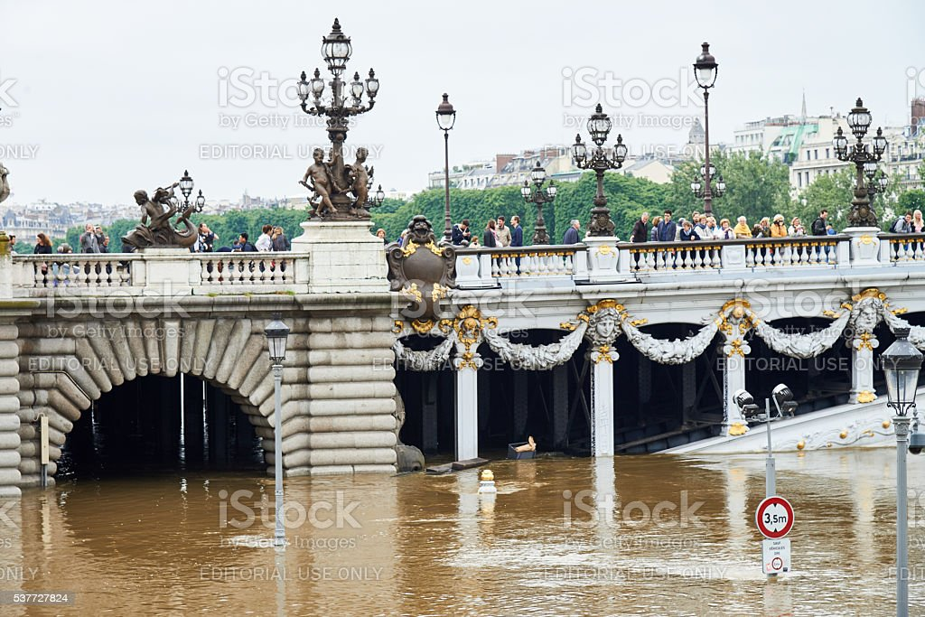 Bridge of Alexandre III during floods in Paris royalty-free stock photo