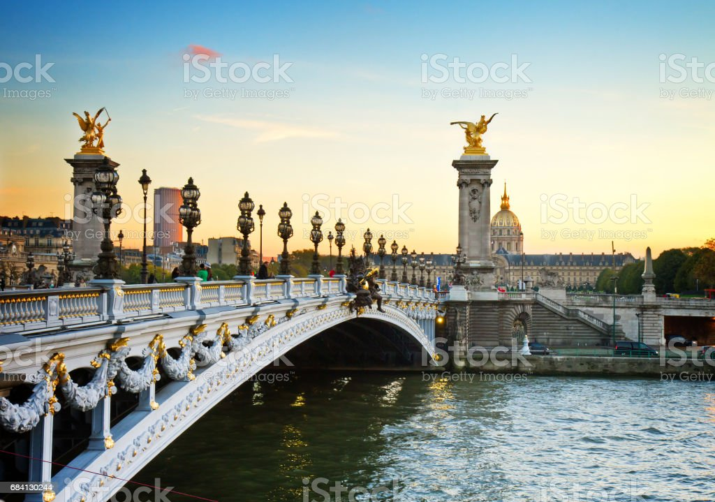 Bridge of Alexandre III in Paris, France stock photo