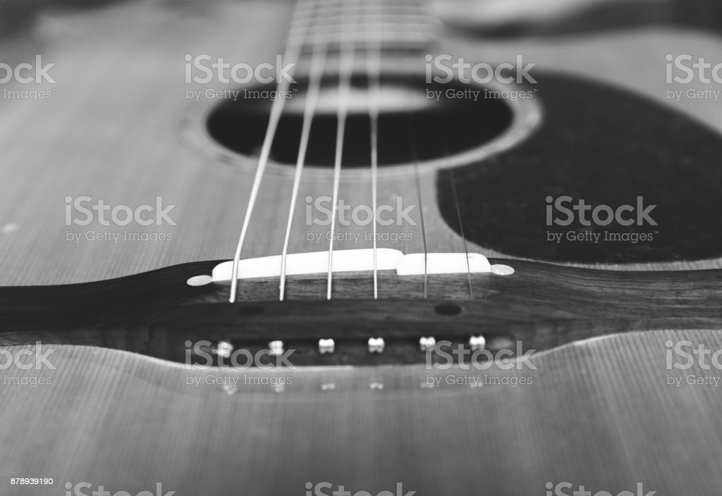 Bridge of an Acoustic Guitar stock photo