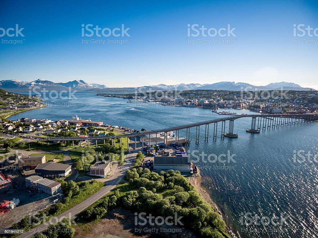 Bridge of city Tromso, Norway stock photo