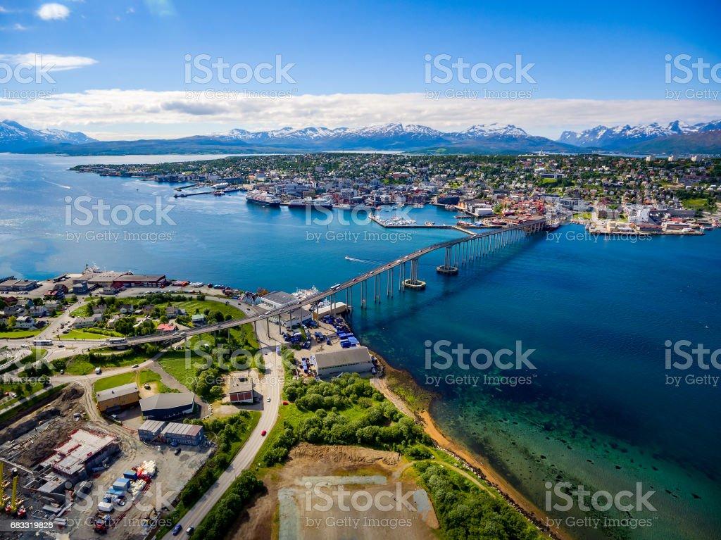 Bridge of city Tromso, Norway stock photo
