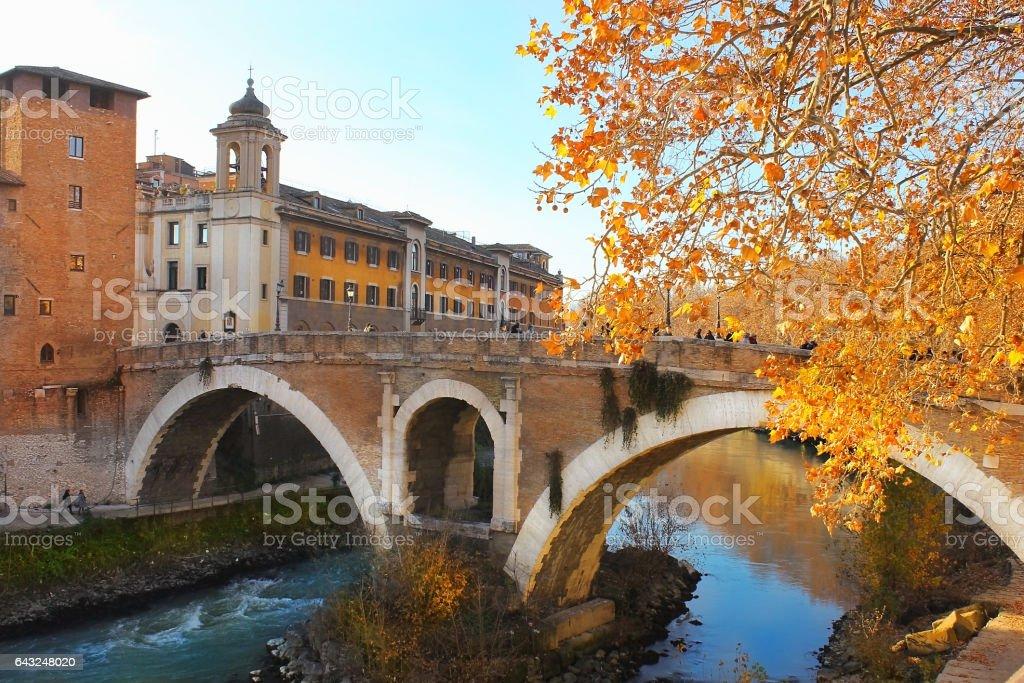 bridge of Fabricius in Rome stock photo