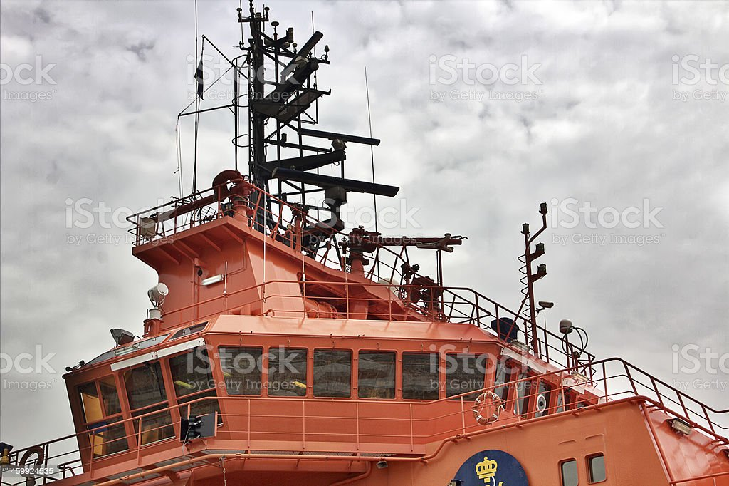 bridge of maritime rescue boat stock photo