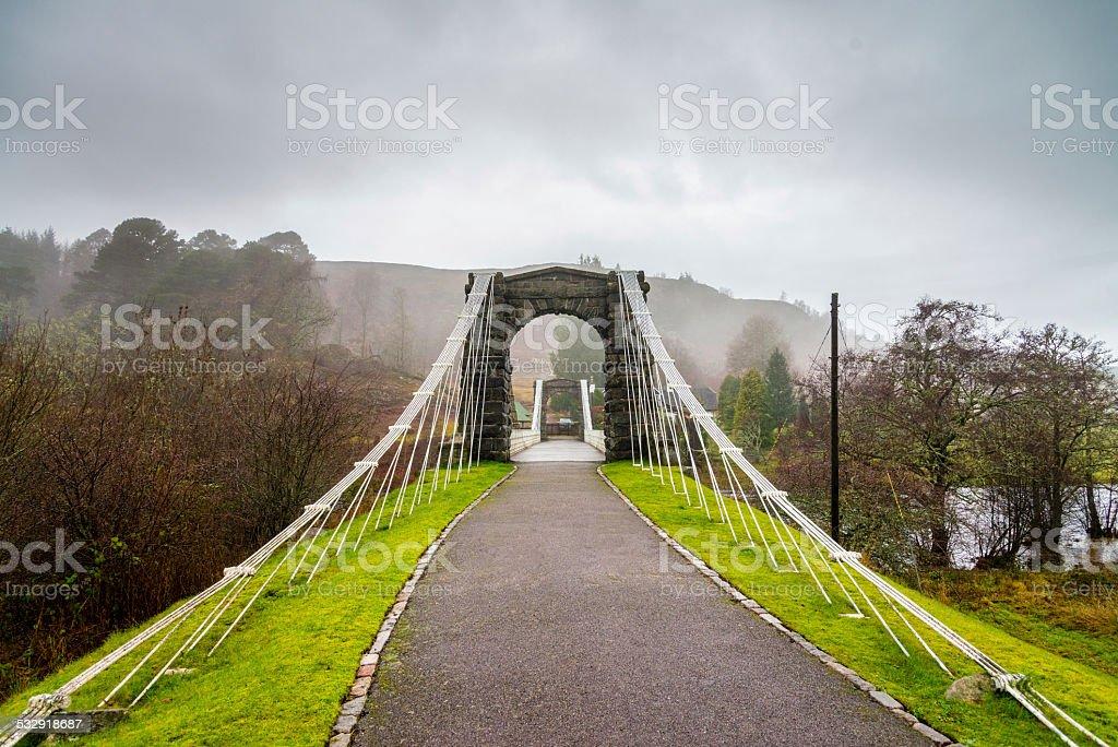 Bridge of Oich Suspension Bridge, Scotland stock photo