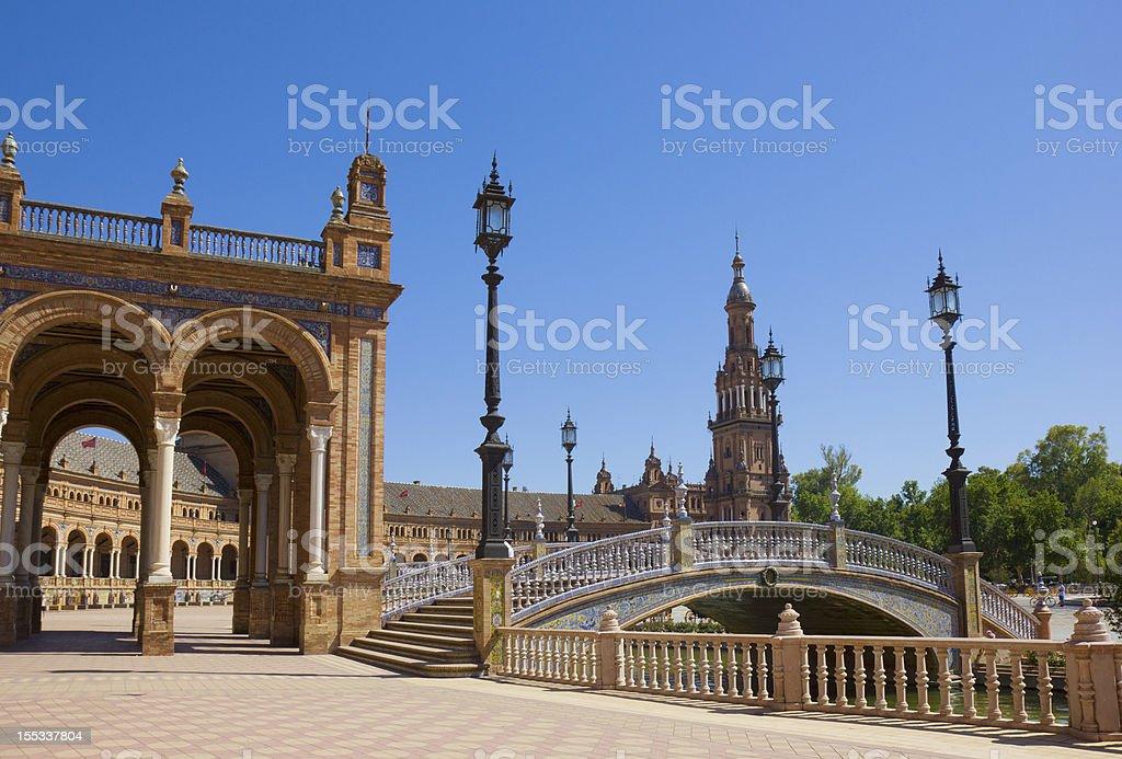 bridge of Plaza de España,  Seville, Spain royalty-free stock photo
