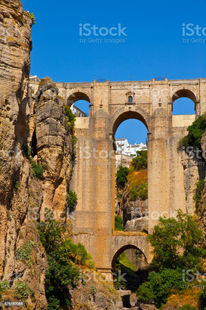 Bridge of Ronda, one of the most famous white villages of Malaga stock photo