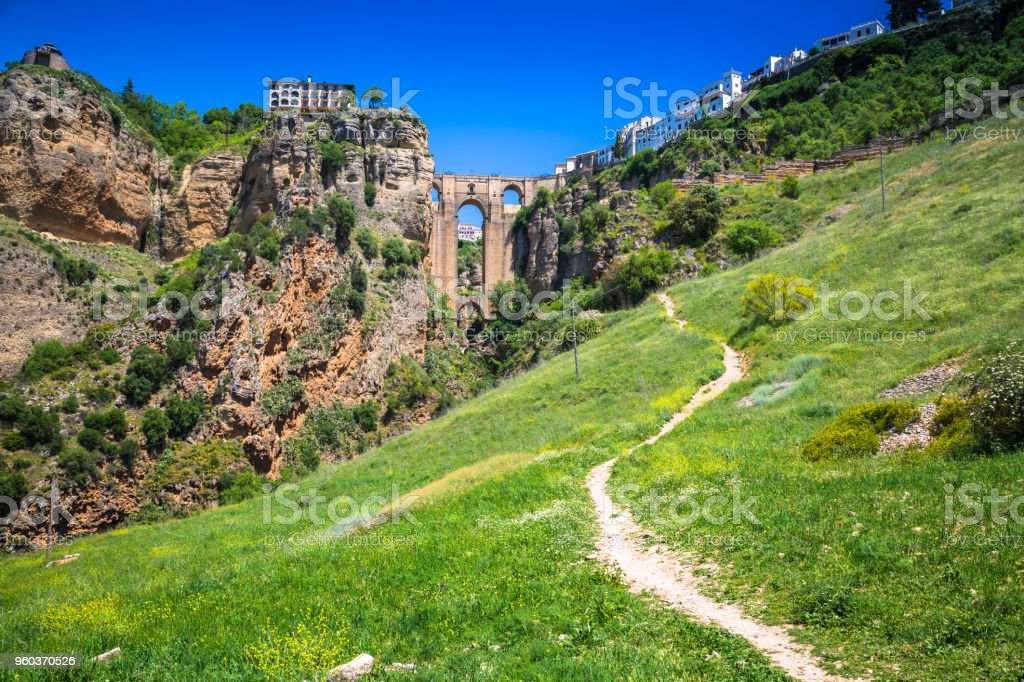 Bridge of Ronda, one of the most famous white villages of Malaga, Andalusia, Spain stock photo