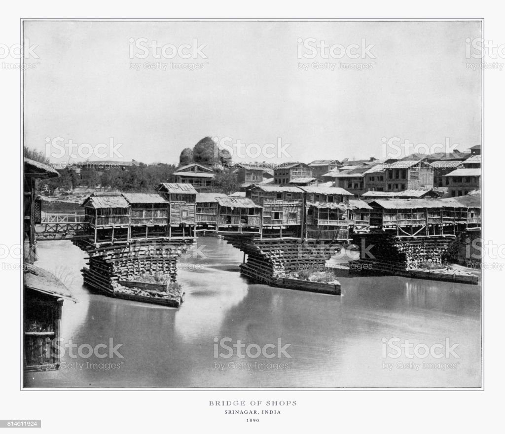 Bridge of Shops, Srinagar, India, Antique India Photograph, 1893 stock photo