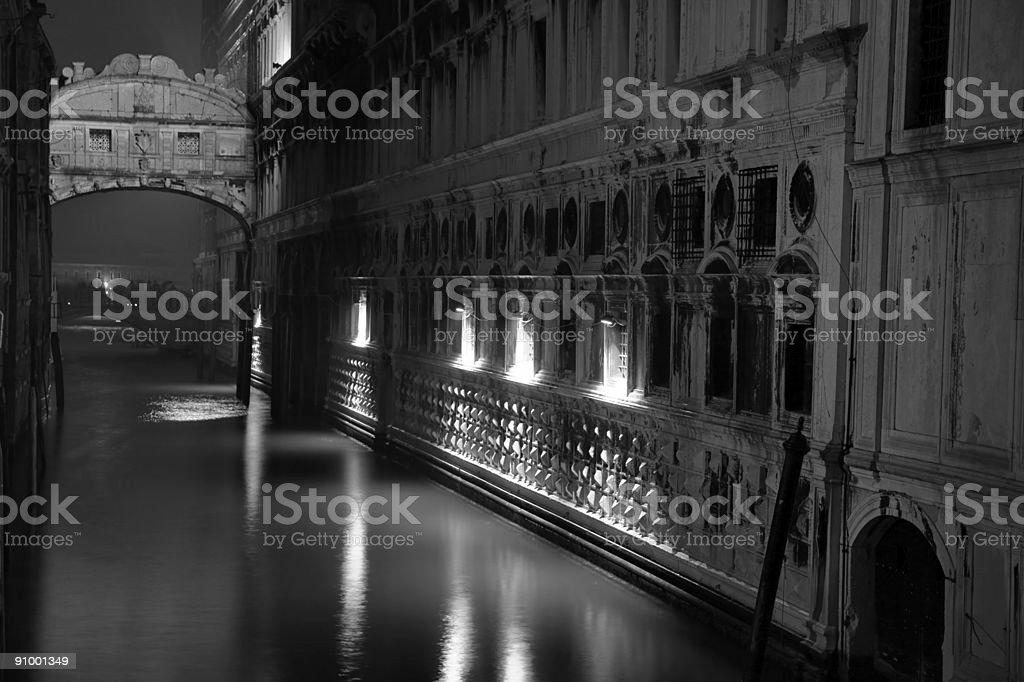 Bridge of Sighs and Ponte Della Paglia at night stock photo