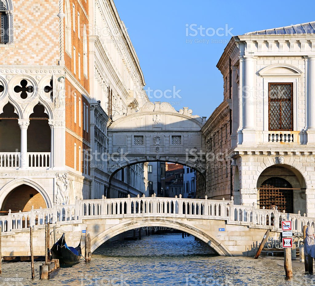 bridge of sighs and the prisons of Venice stock photo